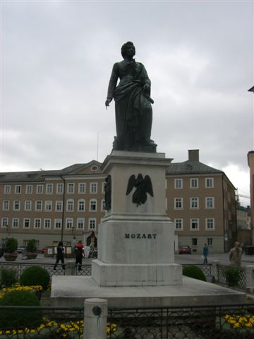 モーツァルト広場に立つモーツァルト像