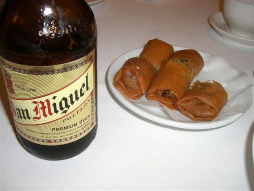 香港ビールと春巻