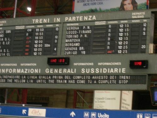 ミラノ中央駅出発案内板
